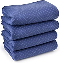 """Sure-Max 4 Moving & Packing Blankets - Deluxe Pro - 80"""" x 72"""" (40 lb/dz weight) - Professional Quilted Shipping Furniture Pads Royal Blue"""