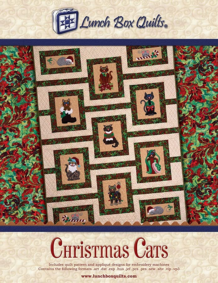 Lunch Box Quilts Christmas Cats Pattern CD