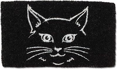 Abbott Collection 35-FWD-AN-1942 Blk Glitter Cat Face Doormat-18X30, Black