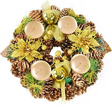 """Home-X Golden Pinecone Christmas Wreath Candle Holder, Artificial Advent Wreath, Winter Home Decorations, (11"""" Diameter)"""