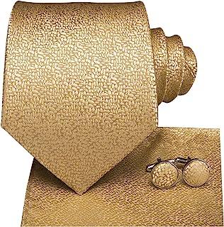 "Dubulle Mens Silk Necktie and Hanky Cufflinks Set 59""/63"" Length"