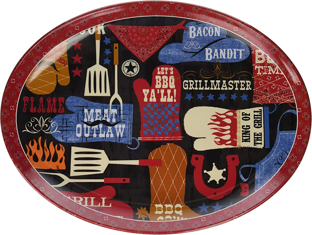 Certified International Corp BBQ Bandit Melamine Oval Platter 18 X 13 5 Multicolor