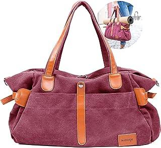 miosaje Yogatasche für Matte| Damen Umhängetasche gross| Canvas Tasche Damen| Weekender für Reisen, Business, Kurzurlaub| Shopper für Einkäufe und Freizeit| weinrot