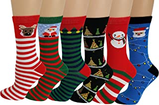Sumona 6 Pairs Women Colorful Fancy Crazy Design Soft & Stretchy Novelty Crew Socks