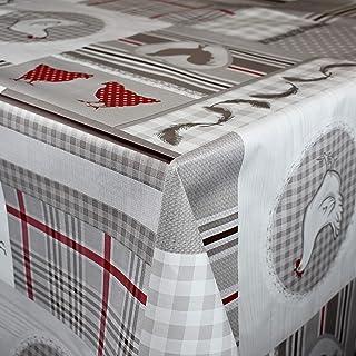 KEVKUS Nappe de Table en Toile Cirée C144431 Poules à Carreaux Bois Éligible en Carré Rond Oval - Bariolé, 140 cm rund