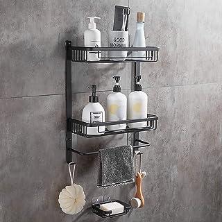 GERUIKE Bathroom Shower Storage Shelf Wall Mount Corner Caddy 2-Tiers Rustproof Aluminum Basket Holder Self Adhesive No Da...