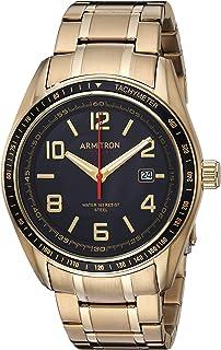 Armitron 20/5252bkgp funciona con energía solar FECHA calendario Dial reloj de pulsera de tono dorado