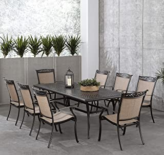 Hanover Fontana 9-Piece Dining Set with 8 Sling Chairs and a 42-in. x 84-in. Cast-Top Table, FNTDN9PCC Outdoor Furniture, Tan