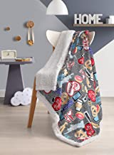 BOURINA Sherpa Fleece Throw Blanket Printed Super Soft Fuzzy Reversible Plush Blankets for Bed Sofa, 60