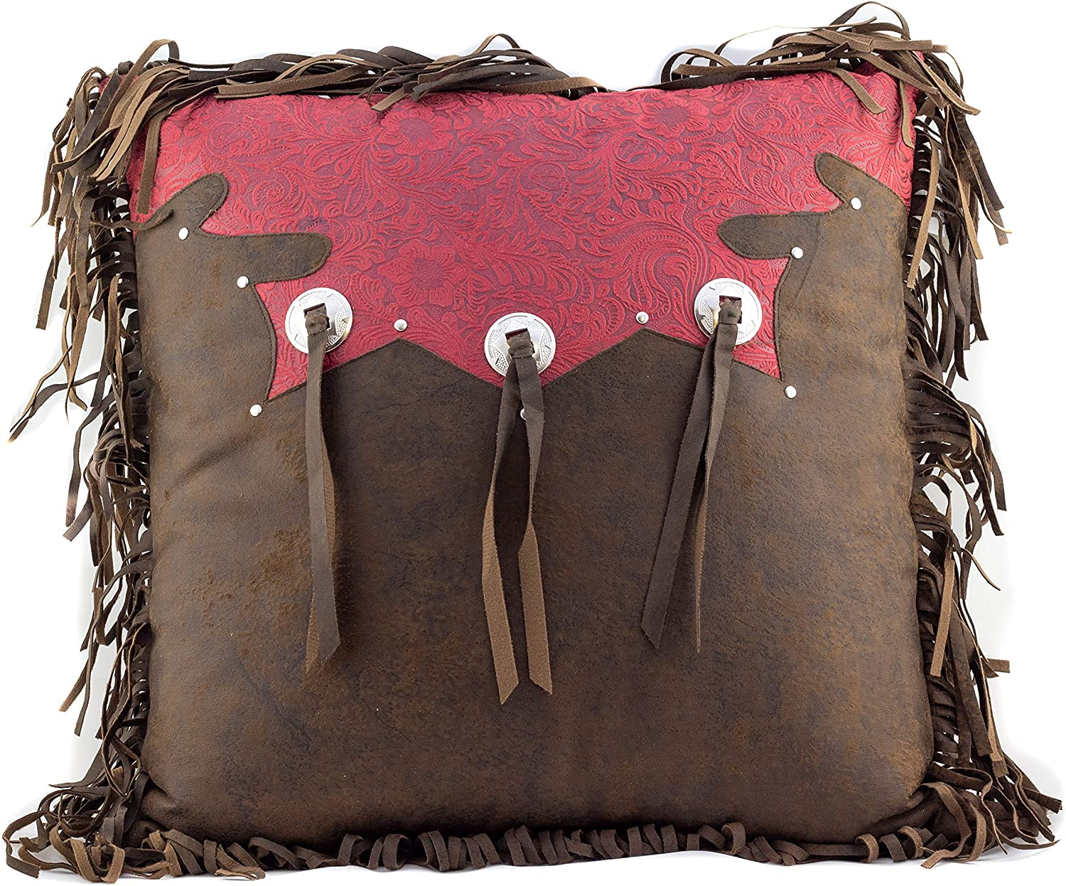 Western Tooled Burgundy Triple Throw All stores are sold Ranking TOP7 Tassle Pillow