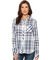 Fresh White and Denim One-Pocket Plaid Luxe Double Cloth Shirt