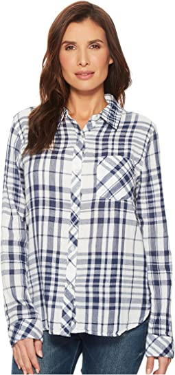 Dylan by True Grit - Fresh White and Denim One-Pocket Plaid Luxe Double Cloth Shirt