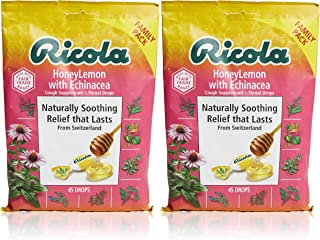Ricola Honey Lemon Herbal Cough Suppressant Throat Drops, 45ct Bag (Pack of 2)