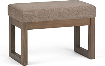 Simpli Home 3AXCOT-252-SM-BRL Milltown 27 Inch Contemporary Ottoman Bench in Fawn Brown Linen Look Fabric