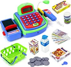 Velocity Toys Toy Cash Register Imagine Multi-functional Educational Pretend Play Battery Operated Toy Cash Register w/Working Calculator and Microphone,Scanner,Money and Credit Card,Groceries(Green)