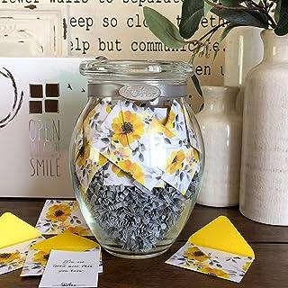 KindNotes Glass Keepsake Gift Jar with Inspirational Messages - Morning Glory Design
