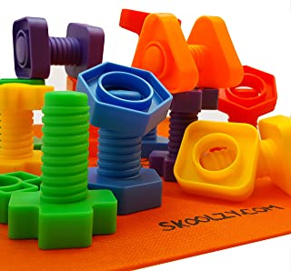 Skoolzy Nuts and Bolts Fine Motor Skills - Occupational Therapy Toddler Toys - Montessori Building Construction Kids Match...