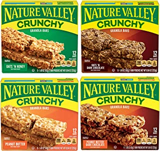 Nature Valley Granola Bars Variety Pack – Oats N Honey, Oats N Dark Chocolate, Peanut Butter, Peanut Butter Dark Chocolate...
