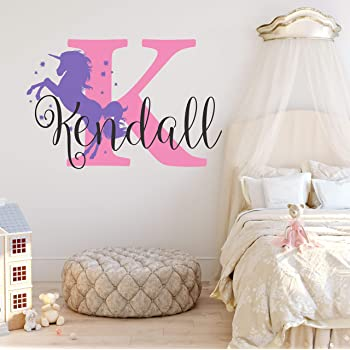 Nursery Unicorn Name and Initial Custom Wall Decal Sticker, Girl Wall Decal, Girls Name, Decor, Personalized, Girls Name Decor, Girls Nursery, Plus Free White Hello Door Decal (S)