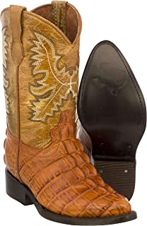 Veretta Boots - Kids Toddler Cognac Crocodile Tail Leather Cowboy Boots J Toe