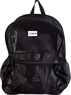 SHYLERO Mesh Backpack XL (40L). 100% Clear Backpack with Key Holder, Bottle Opener, Inner Zippered Pocket. H20 xW16 xD8