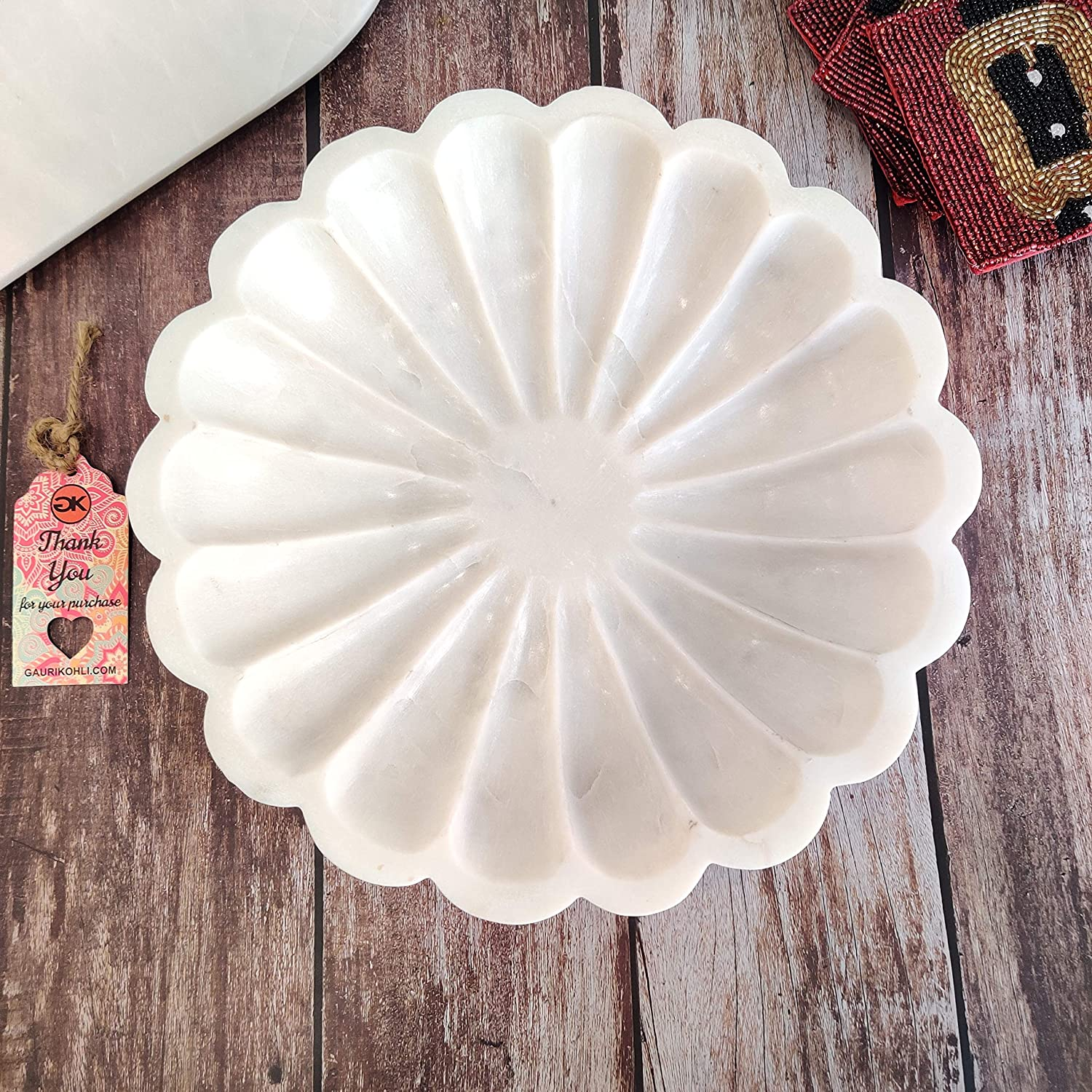 GAURI KOHLI Sunflower Discount Max 84% OFF mail order Chiseled White Bowl Décor Marble 12