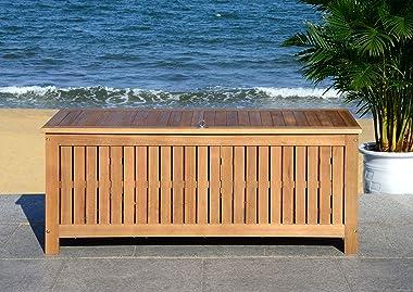 """Safavieh PAT7037A Outdoor Collection Abri Teak 47.63"""" Cushion Deck Box, Natural"""