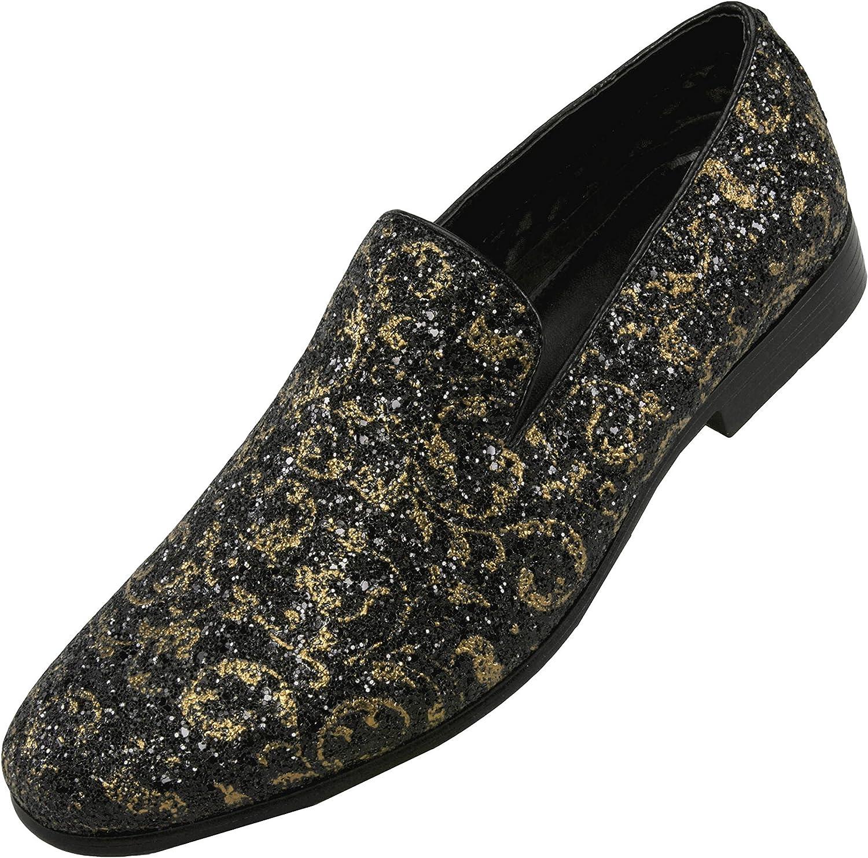 Amali Men's Paisley Metallic Erin Driving Smoking Slip On Loafer Dress Shoe