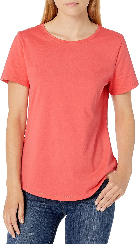 Amazon Essentials Women's 2-Pack Classic-Fit 100% Cotton Short-Sleeve Crewneck T-Shirt