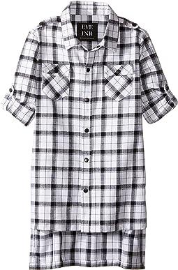 Oversize Button Up Tunic Shirt (Little Kids/Big Kids)