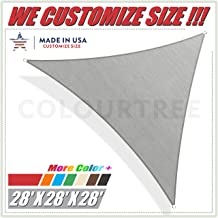 ColourTree 28' x 28' x 28' Grey Sun Shade Sail Triangle Canopy Awning Shelter Fabric Cloth Screen - UV Block UV Resistant Heavy Duty Commercial Grade - Outdoor Patio Carport - (We Make Custom Size)