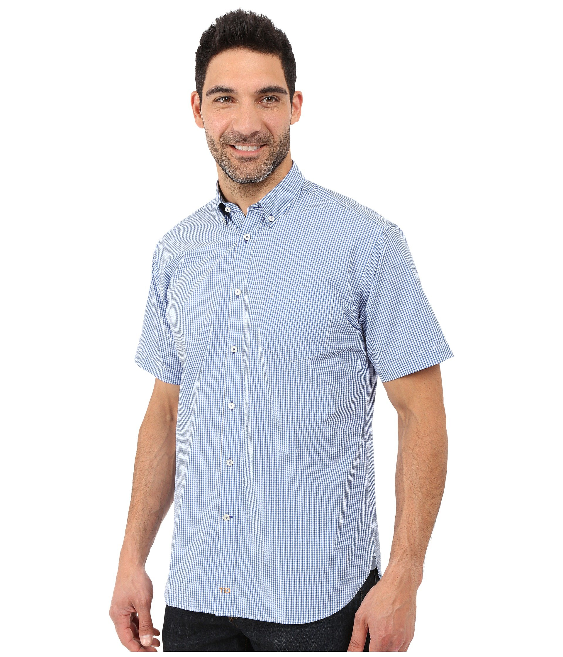Thomas dean co gingham short sleeve button down collar for Button up collared sport shirts