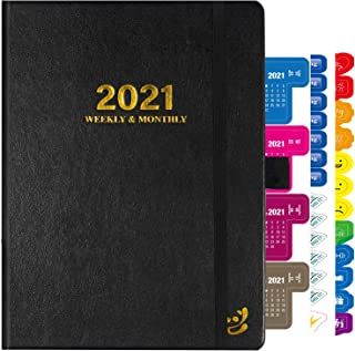 "$21 » 2021 Planner, Weekly & Monthly Planner with Calendar Stickers,6"" X 8"" Personal Organizer,January 2021-December 2021,Leathe..."