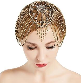 BABEYOND Vintage Style Roaring 20s Crystal Rhinestone Flapper Cap Headpiece (Gold)