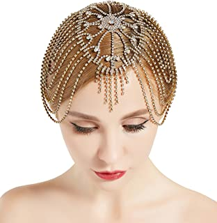 BABEYOND Vintage Style Roaring 20s Crystal Rhinestone Flapper Cap Headpiece (Gold)