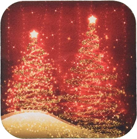Amazon Com 3drose Cst 35705 4 Elegant Christmas Sparkling Trees Red Ceramic Tile Coasters Set Of 8 Home Kitchen