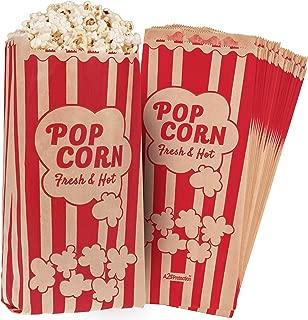 Popcorn Bags 1.5 oz Vintage Retro Style - Coated Oil/Grease Proof - Prevent Salt Popcorn Seasoning Popcorn Kernels & Pop Corn Oil to Drop - for Any Popcorn Machine (Kraft/Red 10X4