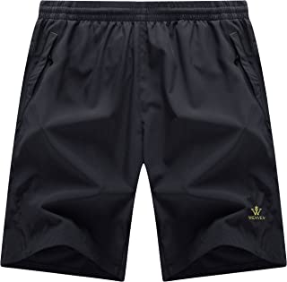 WenVen Men's Quick Dry Waterproof Lightweight Sports Shorts with Zip Pockets