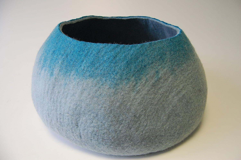 Kathmandu felted wool cat basket bed, hand made in Nepal (Grey turquoise splash)
