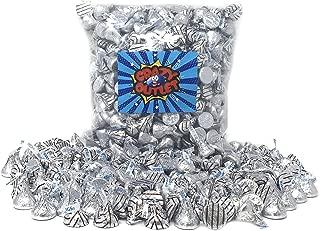 CrazyOutlet Pack - Hershey's Kisses Hugs Kisses Milk Chocolate Mix, Silver Striped Foil, Bulk Pack, 2 lbs