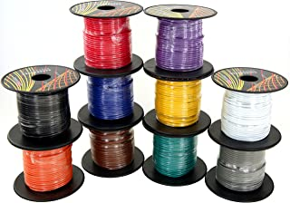 18 Gauge 4 Color Combo 100 Feet per Roll (400 ft Total) Low Voltage Automotive Primary Wire for Car Audio Video Amplifier Remote 12 Volt Trailer Harness Hookup Wiring