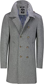 Mens Double Breasted Knee Long Overcoat Vintage War Military Style Wool Mix Jacket