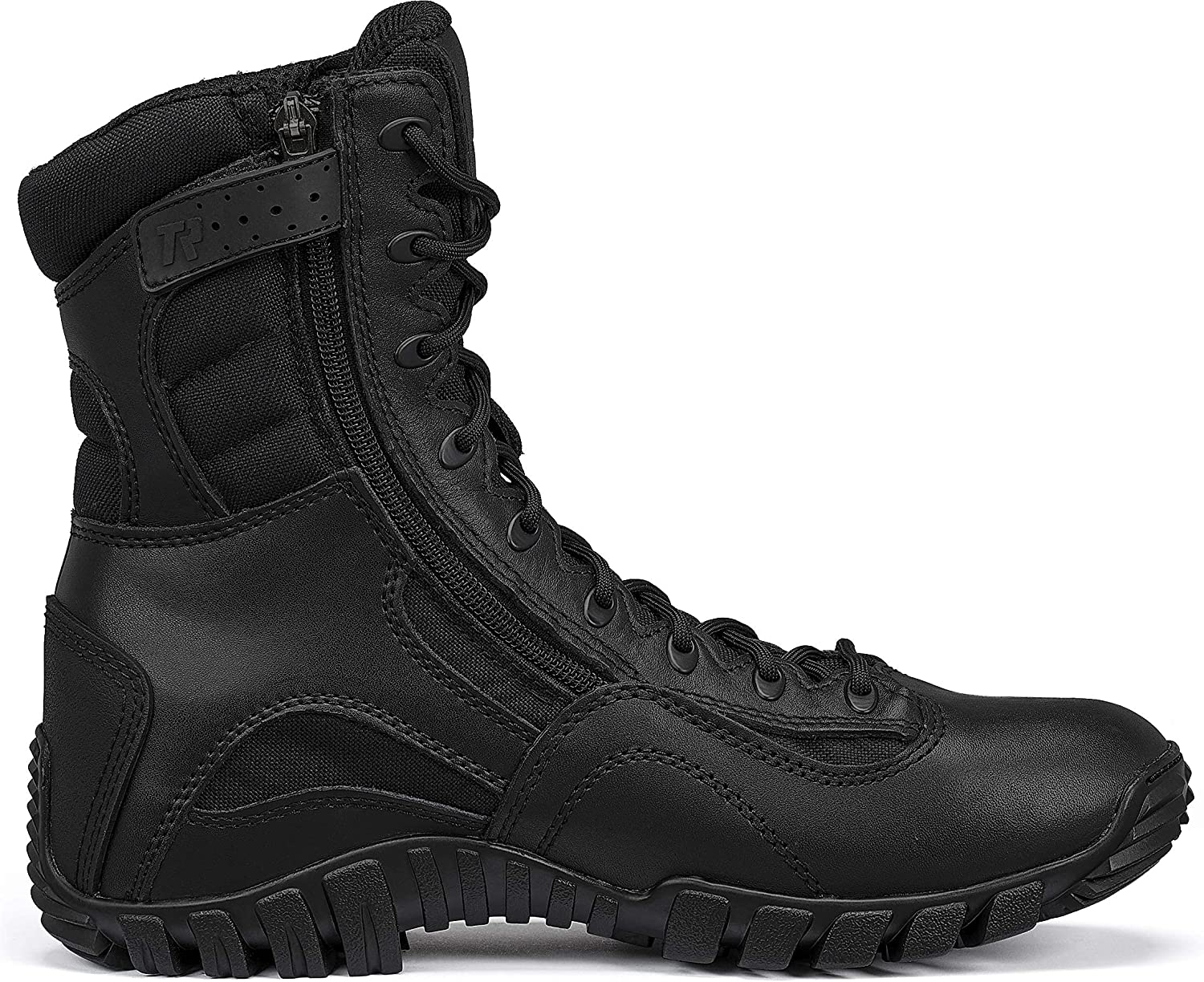 TACTICAL RESEARCH TR Men's Khyber TR960Z Lightweight Side-Zip Black Leather Work and Tactical Boot for Law Enforcement, EMS, and Security Personnel