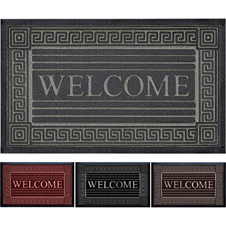 """Extremely Durable Doormat - Outdoor Welcome Door Mat Non Slip with Thick Natural Rubber Backing - Indoor Outdoor Sole Dirt Collection - Low-Profile Mats (24"""" x 36"""", Gray)"""