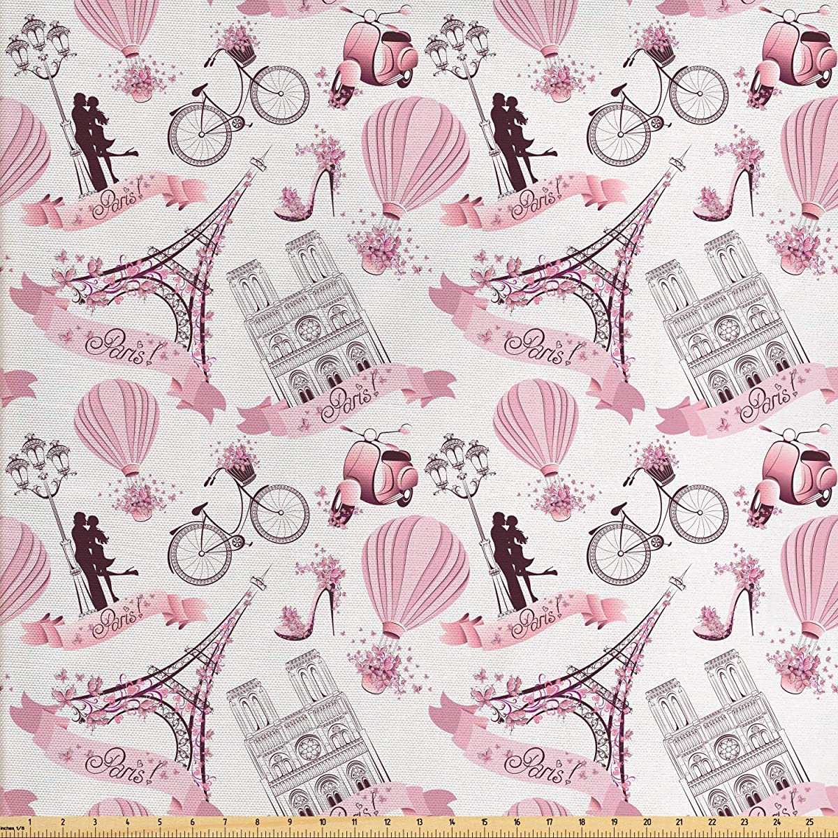 Ambesonne Paris Fabric by The Yard, Valentines Day Theme with Eiffel Kissing Couple Hot Air Balloon Wedding Concept, Decorative Fabric for Upholstery and Home Accents, 1 Yard, Baby Pink Rose k94355278