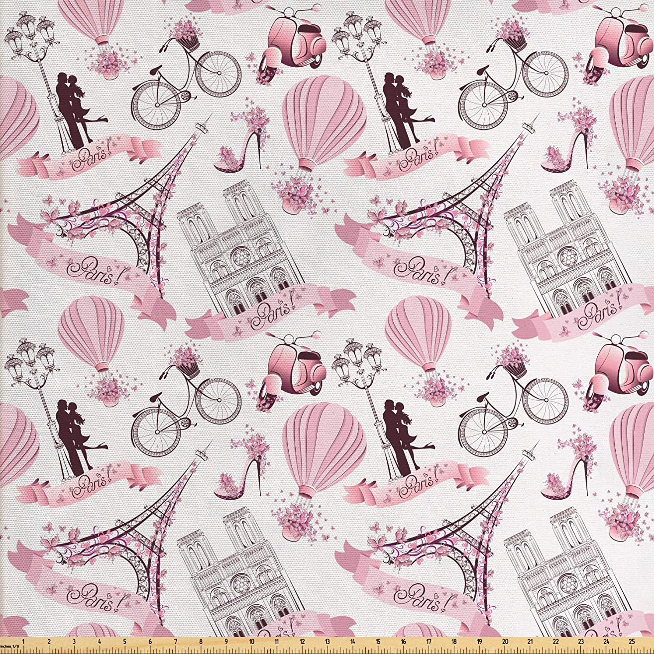 Ambesonne Paris Fabric by The Yard, Valentines Day Theme with Eiffel Kissing Couple Hot Air Balloon Wedding Concept, Decorative Fabric for Upholstery and Home Accents, 5 Yards, Baby Pink Rose cuufuw7176570854