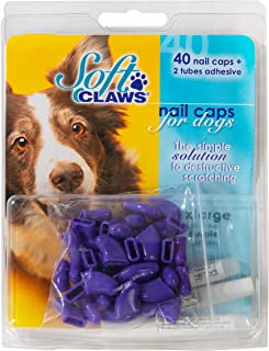 Soft Claws Canine Nail Caps - 40 Nail Caps and Adhesive for Dogs (Purple, XX-Large)