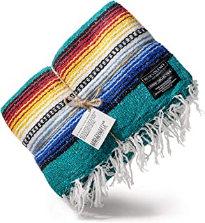 Benevolence LA Premium Falsa Mexican Blanket - Authentic Woven Mexican Blankets in Royal Ultramarine Ideal as a Picnic Blanket, Beach Blanket and Yoga Blanket (Agua)