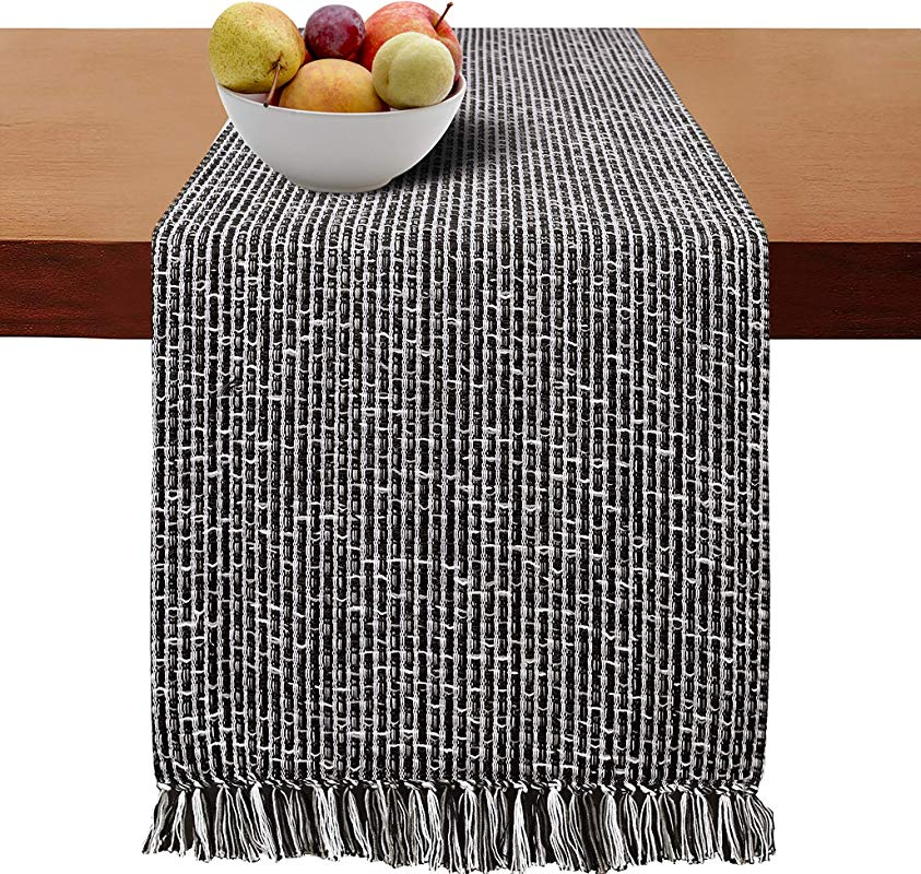 Cotton Clinic Table Runner Farmhouse 72 Inch Extra Large 16x72 Wedding Table Runner Fringes Rustic Bridal Shower Decor Dining Table Runner Black