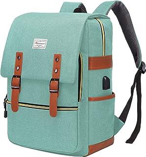 Modoker Vintage Laptop Backpack 17 Inch with USB Charging Port, Tear Resistant Slim Laptops Backpack, Travel School Comput...